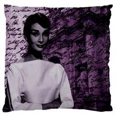 Audrey Hepburn Large Flano Cushion Case (Two Sides)