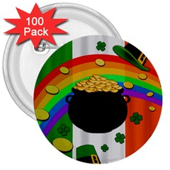 Pot of gold 3  Buttons (100 pack)