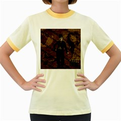 Charlie Chaplin  Women s Fitted Ringer T-Shirts