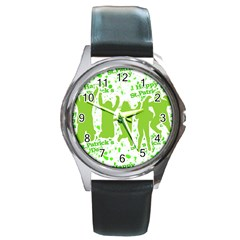 Saint Patrick Motif Round Metal Watch