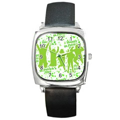 Saint Patrick Motif Square Metal Watch
