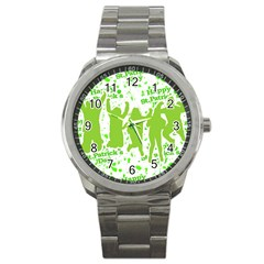 Saint Patrick Motif Sport Metal Watch