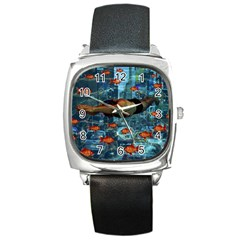 Urban swimmers   Square Metal Watch