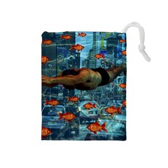 Urban swimmers   Drawstring Pouches (Medium)