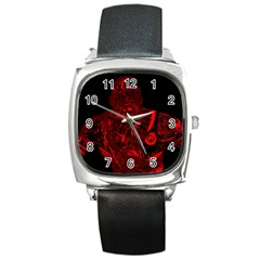 Warrior - red Square Metal Watch