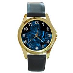 Warrior - Blue Round Gold Metal Watch