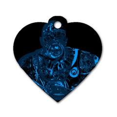 Warrior - Blue Dog Tag Heart (Two Sides)