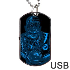 Warrior - Blue Dog Tag USB Flash (One Side)