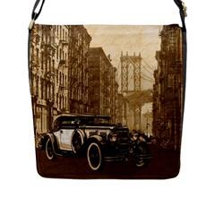 Vintage Old car Flap Messenger Bag (L)