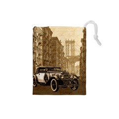 Vintage Old car Drawstring Pouches (Small)