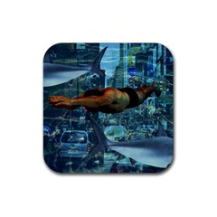 Urban swimmers   Rubber Square Coaster (4 pack)