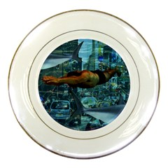 Urban swimmers   Porcelain Plates