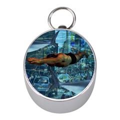Urban swimmers   Mini Silver Compasses