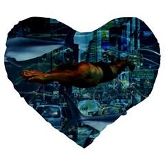Urban swimmers   Large 19  Premium Flano Heart Shape Cushions