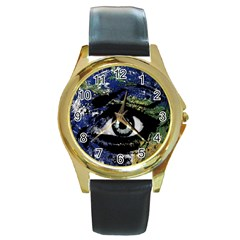 Mother Earth  Round Gold Metal Watch