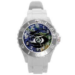 Mother Earth  Round Plastic Sport Watch (L)