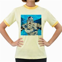 Swimming angel Women s Fitted Ringer T-Shirts
