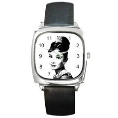 Audrey Hepburn Square Metal Watch