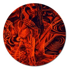 Red girl Magnet 5  (Round)