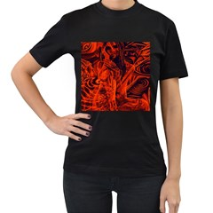 Red girl Women s T-Shirt (Black) (Two Sided)