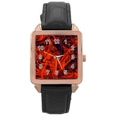 Red girl Rose Gold Leather Watch