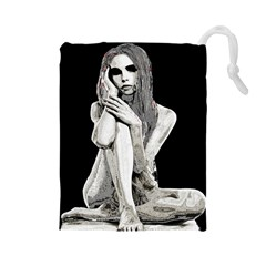 Stone girl Drawstring Pouches (Large)