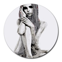 Stone girl Round Mousepads