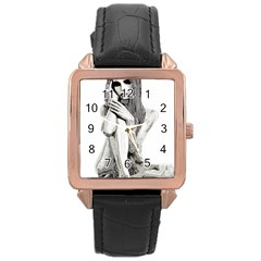 Stone girl Rose Gold Leather Watch