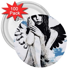 Angel 3  Buttons (100 pack)
