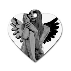 Stone Angel Dog Tag Heart (two Sides)