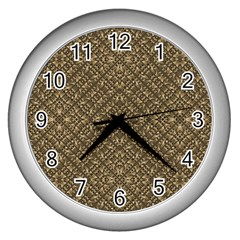 Wooden Ornamented Pattern Wall Clocks (Silver)