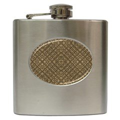 Wooden Ornamented Pattern Hip Flask (6 oz)