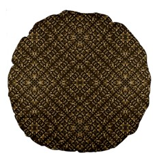 Wooden Ornamented Pattern Large 18  Premium Round Cushions