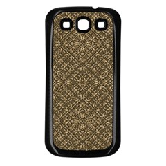 Wooden Ornamented Pattern Samsung Galaxy S3 Back Case (Black)