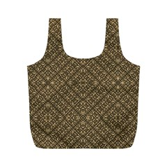 Wooden Ornamented Pattern Full Print Recycle Bags (M)