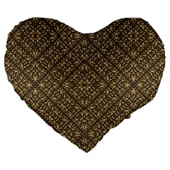 Wooden Ornamented Pattern Large 19  Premium Flano Heart Shape Cushions