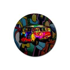 Hippie van  Rubber Coaster (Round)