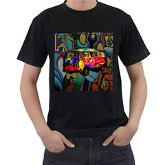 Hippie van  Men s T-Shirt (Black) (Two Sided)