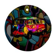 Hippie van  Round Ornament (Two Sides)