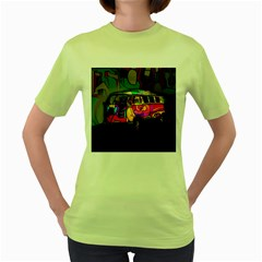Hippie van  Women s Green T-Shirt