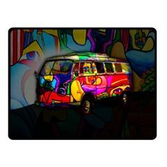 Hippie van  Double Sided Fleece Blanket (Small)