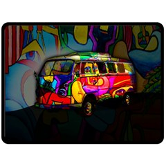Hippie van  Double Sided Fleece Blanket (Large)