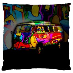 Hippie van  Large Flano Cushion Case (One Side)