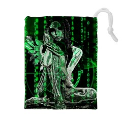 Cyber angel Drawstring Pouches (Extra Large)