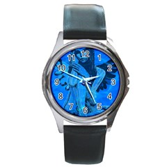 Underwater angel Round Metal Watch