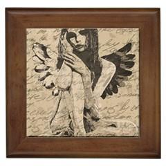 Vintage angel Framed Tiles
