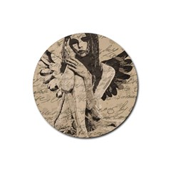 Vintage angel Rubber Round Coaster (4 pack)