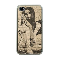 Vintage angel Apple iPhone 4 Case (Clear)