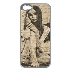 Vintage angel Apple iPhone 5 Case (Silver)