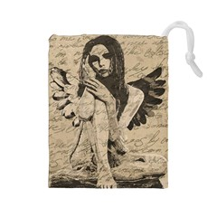 Vintage angel Drawstring Pouches (Large)